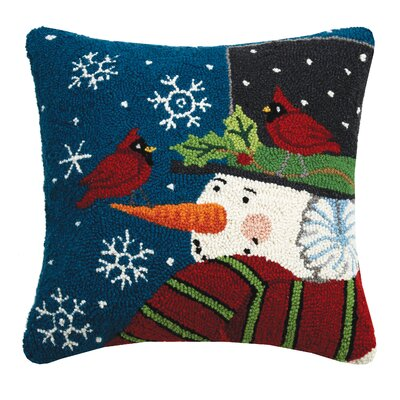Maspeth Snowman with Cardinal Wool Throw Pillow