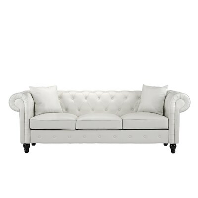 Anso Chesterfield Sofa Upholstery: White