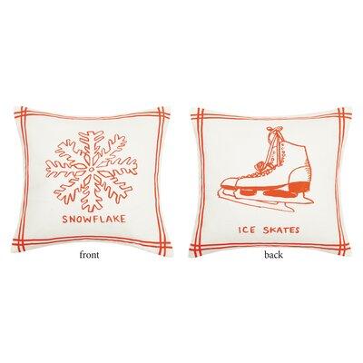 Maston Snowflake Ice Skates Reversible Cotton Throw Pillow