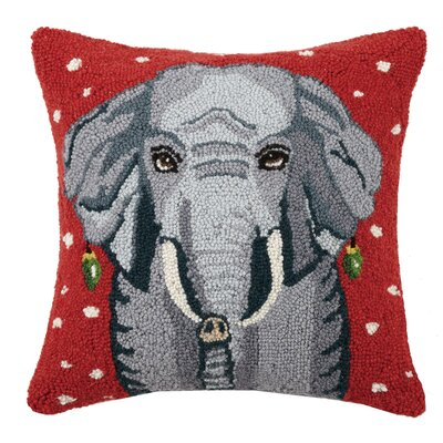 Mastrangelo Snowy Elephant Wool Throw Pillow