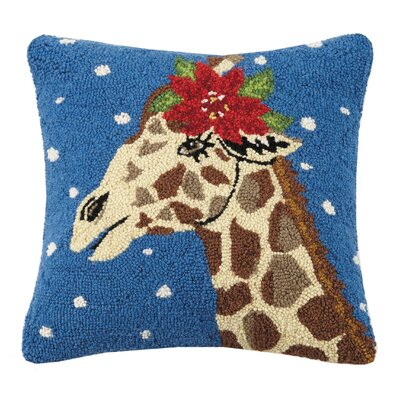 Mastrangelo Snowy Giraffe Wool Throw Pillow
