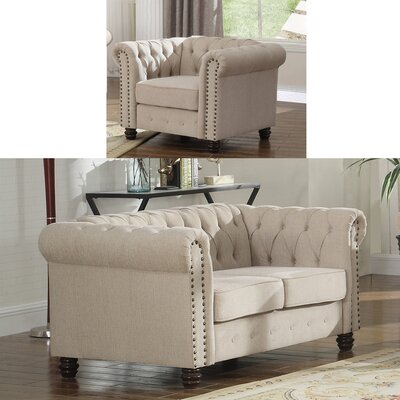 Audwin 2 Piece Living Room Set Upholstery : Beige