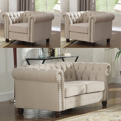 Audwin 3 Piece Living Room Set Upholstery : Beige