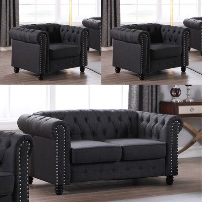 Audwin 3 Piece Living Room Set Upholstery : Dark Gray