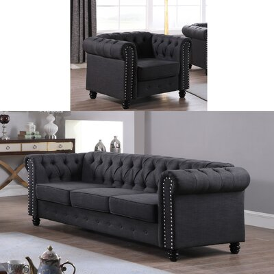 Audwin 2 Piece Living Room Set Upholstery : Dark Gray