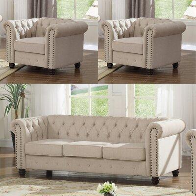 Audwin 3 Piece Living Room Set Upholstery : Beige