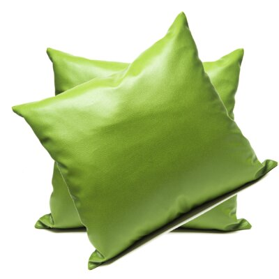 Leopoulos Faux Leather Throw Pillow Color: Green
