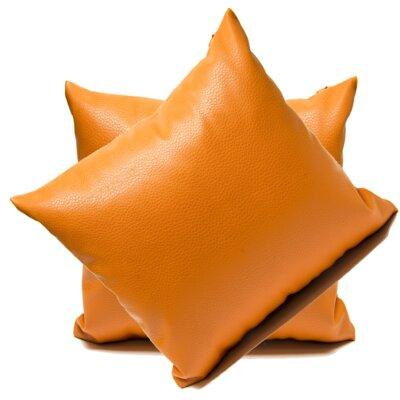 Leopoulos Faux Leather Throw Pillow Color: Orange