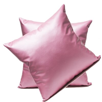 Leopoulos Faux Leather Throw Pillow Color: Pink