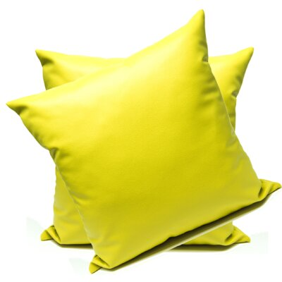 Leopoulos Faux Leather Throw Pillow Color: Yellow