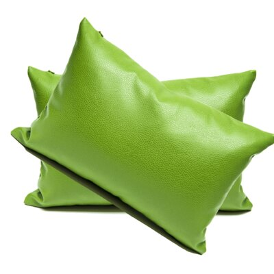 Faux Leather Lumbar Pillow Color: Green