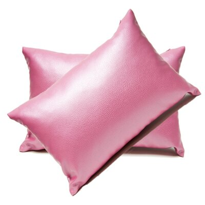 Faux Leather Lumbar Pillow Color: Pink