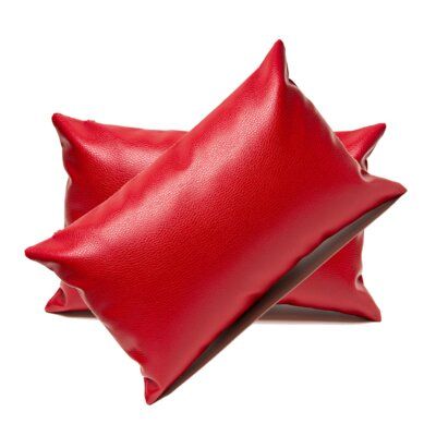 Faux Leather Lumbar Pillow Color: Red