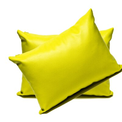 Faux Leather Lumbar Pillow Color: Yellow