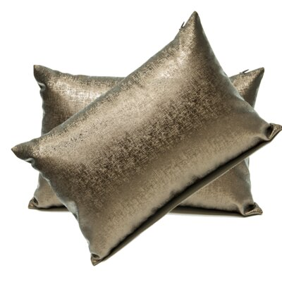 Andreana Faux Leather Lumbar Pillow Color: Brown