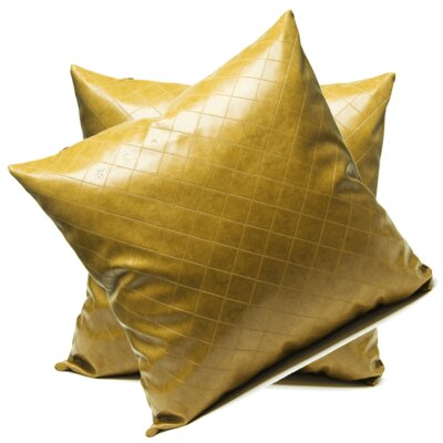 Earnest Faux Leather Throw Pillow