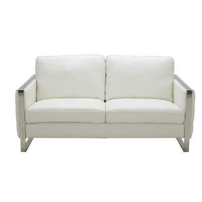 Hewins Leather Loveseat Upholstery: White