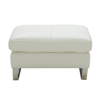 Hewins Leather Ottoman Upholstery: White