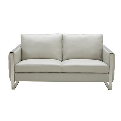Hewins Leather Loveseat Upholstery: Light Gray
