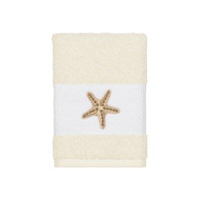 Tiarra 100% Turkish Cotton Embellished Washcloth Color: Cream