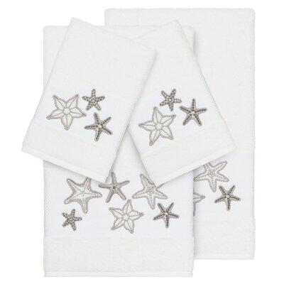 Tiarra 100% Turkish Cotton Embellished 4 Piece Towel Set Color: White