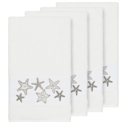 Tiarra 100% Turkish Cotton Embellished 4 Piece Bath Towel Set Color: White