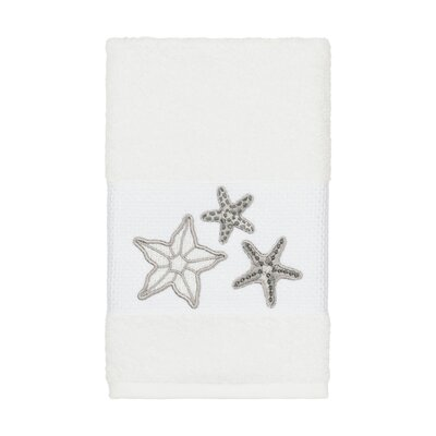 Tiarra 100% Turkish Cotton Embellished Hand Towel Color: White