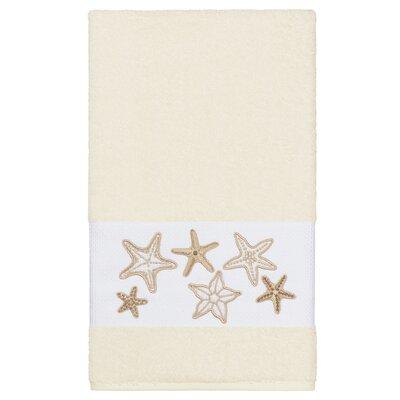 Tiarra 100% Turkish Cotton Embellished Bath Towel Color: Cream
