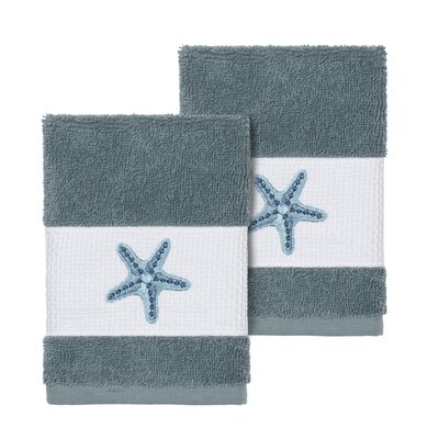 Tiarra 100% Turkish Cotton Embellished 2 Piece Washcloth Set Color: Teal