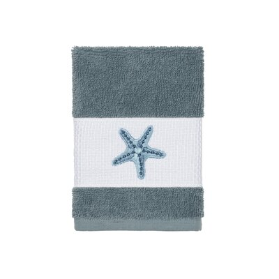 Tiarra 100% Turkish Cotton Embellished Washcloth Color: Teal