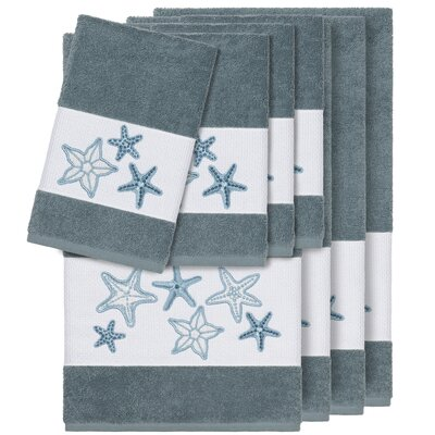 Tiarra 100% Turkish Cotton Embellished 8 Piece Towel Set Color: Teal