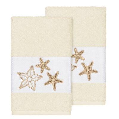 Tiarra 100% Turkish Cotton Embellished 2 Piece Hand Towel Set Color: Cream