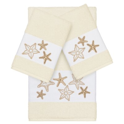 Tiarra 100% Turkish Cotton Embellished 3 Piece Towel Set Color: Cream