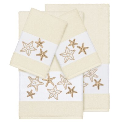 Tiarra 100% Turkish Cotton Embellished 4 Piece Towel Set Color: Cream