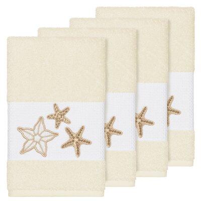 Tiarra 100% Turkish Cotton Embellished 4 Piece Hand Towel Set Color: Cream