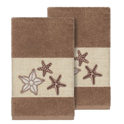Tiarra 100% Turkish Cotton Embellished 2 Piece Hand Towel Set Color: Latte