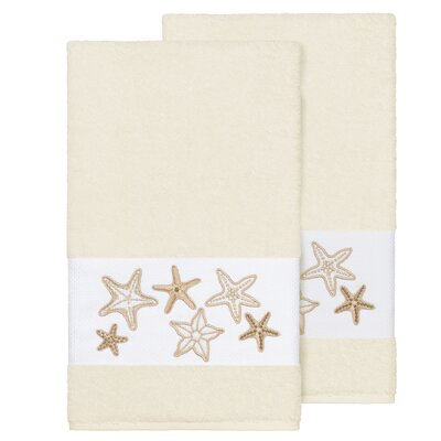 Tiarra 100% Turkish Cotton Embellished 2 Piece Bath Towel Set Color: Cream