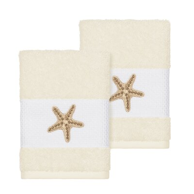 Tiarra 100% Turkish Cotton Embellished 2 Piece Washcloth Set Color: Cream
