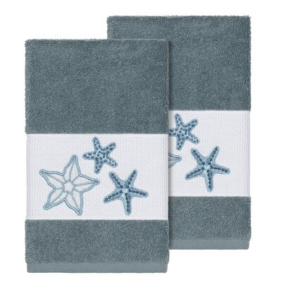Tiarra 100% Turkish Cotton Embellished 2 Piece Hand Towel Set Color: Teal