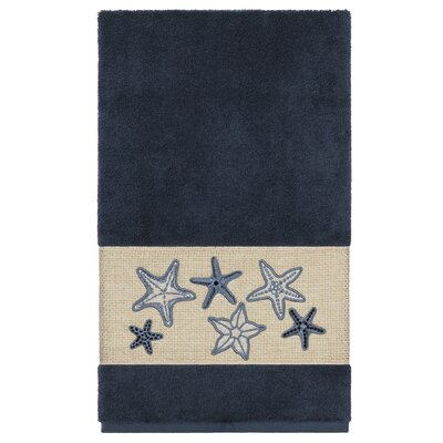Tiarra 100% Turkish Cotton Embellished Bath Towel Color: Midnight Blue
