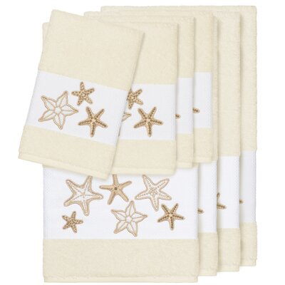 Tiarra 100% Turkish Cotton Embellished 8 Piece Towel Set Color: Cream