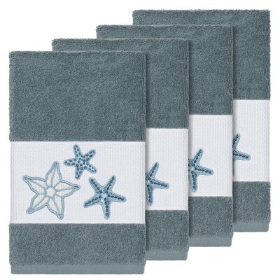 Tiarra 100% Turkish Cotton Embellished 4 Piece Hand Towel Set Color: Teal