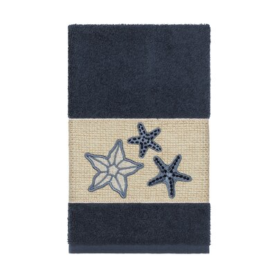 Tiarra 100% Turkish Cotton Embellished Hand Towel Color: Midnight Blue