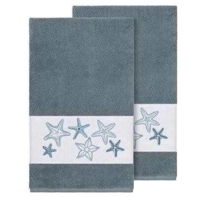 Tiarra 100% Turkish Cotton Embellished 2 Piece Bath Towel Set Color: Teal
