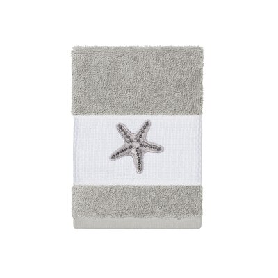 Tiarra 100% Turkish Cotton Embellished Washcloth Color: Light Gray