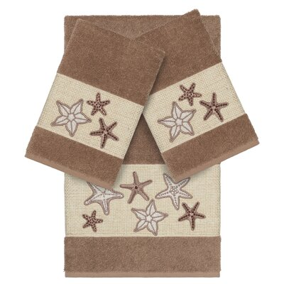 Tiarra 100% Turkish Cotton Embellished 3 Piece Towel Set Color: Latte