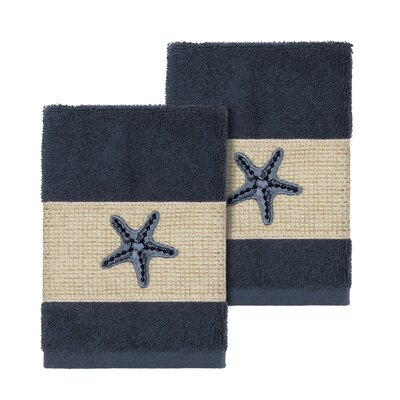 Tiarra 100% Turkish Cotton Embellished 2 Piece Washcloth Set Color: Midnight Blue