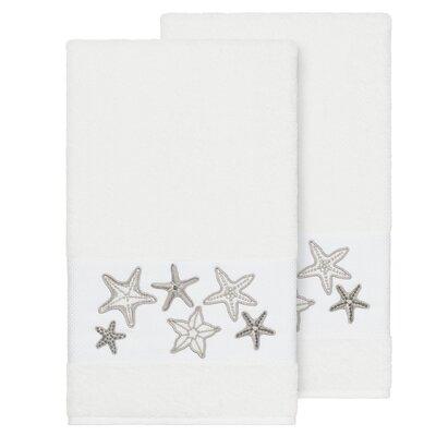 Tiarra 100% Turkish Cotton Embellished 2 Piece Bath Towel Set Color: White