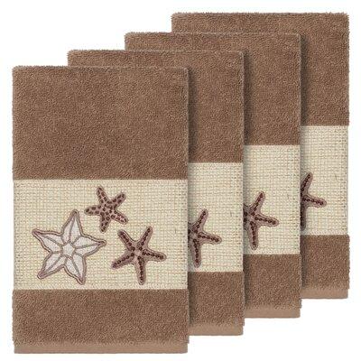 Tiarra 100% Turkish Cotton Embellished 4 Piece Hand Towel Set Color: Latte