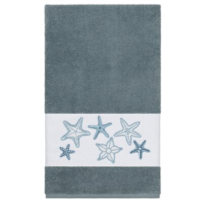 Tiarra 100% Turkish Cotton Embellished Bath Towel Color: Teal
